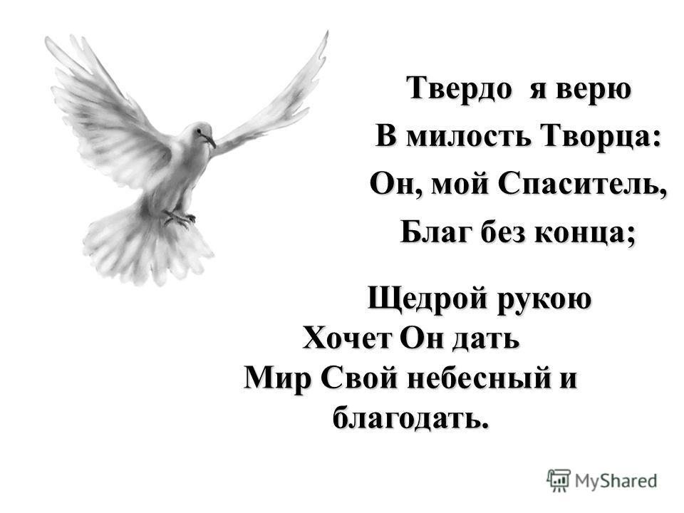 Твердо я верю В милость Творца: Он, мой Спаситель, Благ без конца; Щедрой рукою Хочет Он дать Мир Свой небесный и благодать.