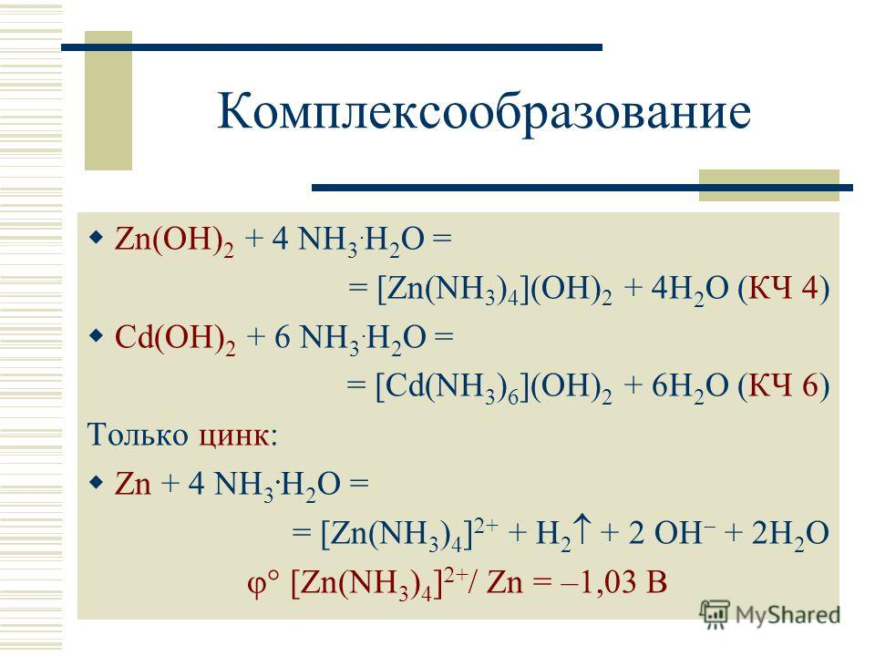 Комплексообразование Zn(OH) 2 + 4 NH 3. H 2 O = = [Zn(NH 3 ) 4 ](OH) 2 + 4H 2 O (КЧ 4) Cd(OH) 2 + 6 NH 3. H 2 O = = [Cd(NH 3 ) 6 ](OH) 2 + 6H 2 O (КЧ 6) Только цинк: Zn + 4 NH 3. H 2 O = = [Zn(NH 3 ) 4 ] + + H 2 + 2 OH + 2H 2 O [Zn(NH 3 ) 4 ] + / Zn
