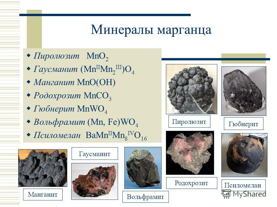 Минералы марганца Пиролюзит MnO 2 Гаусманит (Mn II Mn 2 III )O 4 Манганит MnO(OH) Родохрозит MnCO 3 Гюбнерит MnWO 4 Вольфрамит (Mn, Fe)WO 4 Псиломелан BaMn II Mn 8 IV O 16 ПиролюзитГюбнерит Гаусманит ПсиломеланРодохрозит Вольфрамит Манганит