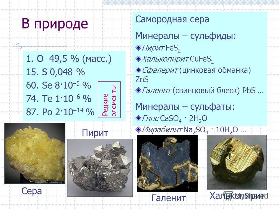 В природе 1. O 49,5 % (масс.) 15. S 0,048 % 60. Se 8·10 –5 % 74. Te 1·10 –6 % 87. Po 2·10 –14 % Самородная сера Минералы – сульфиды: Пирит FeS 2 Халькопирит CuFeS 2 Сфалерит (цинковая обманка) ZnS Галенит (свинцовый блеск) PbS … Минералы – сульфаты: