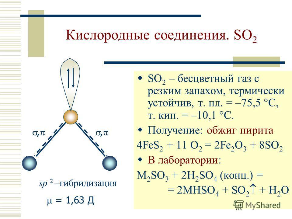 Кислородные соединения. SO 2 SO 2 – бесцветный газ с резким запахом, термически устойчив, т. пл. = –75,5 С, т. кип. = –10,1 С. Получение: обжиг пирита 4FeS 2 + 11 O 2 = 2Fe 2 O 3 + 8SO 2 В лаборатории: M 2 SO 3 + 2H 2 SO 4 (конц.) = = 2MHSO 4 + SO 2