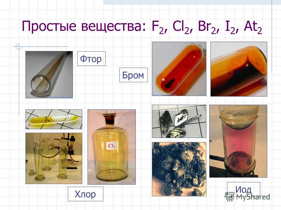 Простые вещества: F 2, Cl 2, Br 2, I 2, At 2 Иод Бром Фтор Хлор