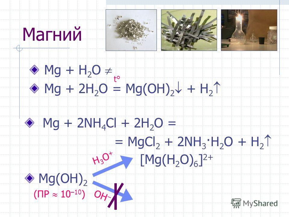 Магний Mg + H 2 O Mg + 2H 2 O = Mg(OH) 2 + H 2 t°t° Mg + 2NH 4 Cl + 2H 2 O = = MgCl 2 + 2NH 3 ·H 2 O + H 2 H3O+H3O+ OH – [Mg(H 2 O) 6 ] 2+ Mg(OH) 2 (ПР 10 –10 )
