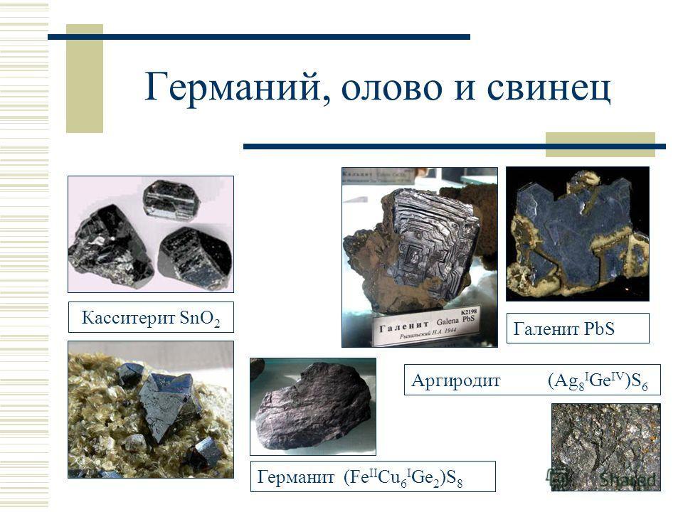 Германий, олово и свинец Касситерит SnO 2 Галенит PbS Германит (Fe II Cu 6 I Ge 2 )S 8 Аргиродит (Ag 8 I Ge IV )S 6