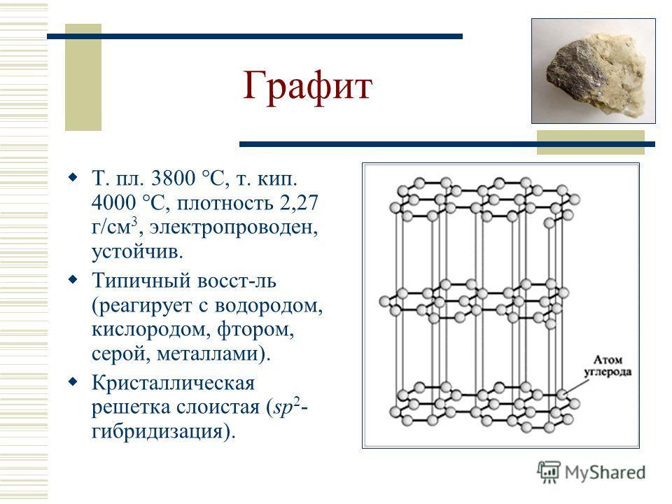 Графит Т. пл. 3800 С, т. кип. 4000 С, плотность 2,27 г/см 3, электропроводен, устойчив. Типичный восст-ль (реагирует с водородом, кислородом, фтором, серой, металлами). Кристаллическая решетка слоистая (sp 2 - гибридизация).