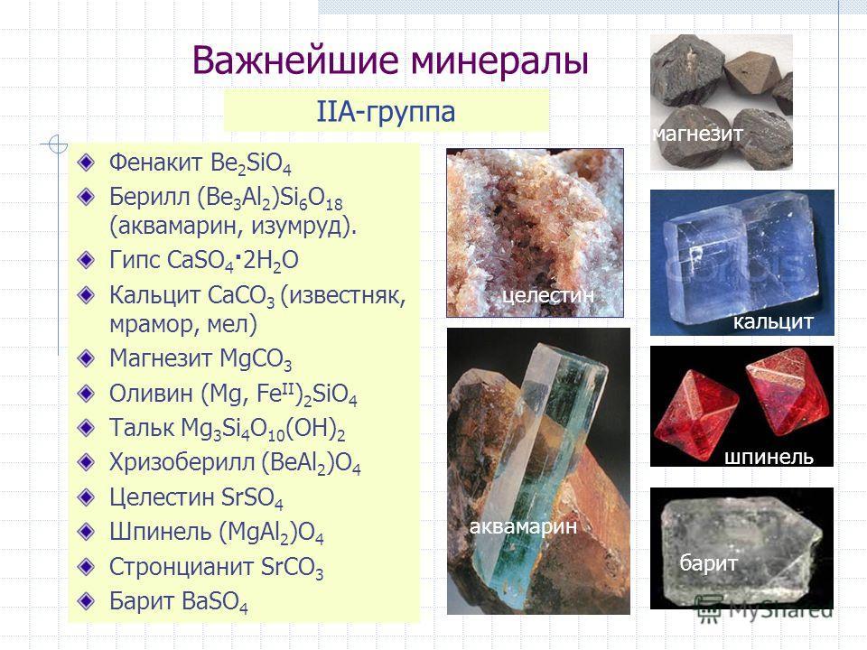 Важнейшие минералы Фенакит Be 2 SiO 4 Берилл (Be 3 Al 2 )Si 6 O 18 (аквамарин, изумруд). Гипс CaSO 4 ·2H 2 O Кальцит CaCO 3 (известняк, мрамор, мел) Магнезит MgCO 3 Оливин (Mg, Fe II ) 2 SiO 4 Тальк Mg 3 Si 4 O 10 (OH) 2 Хризоберилл (BeAl 2 )O 4 Целе