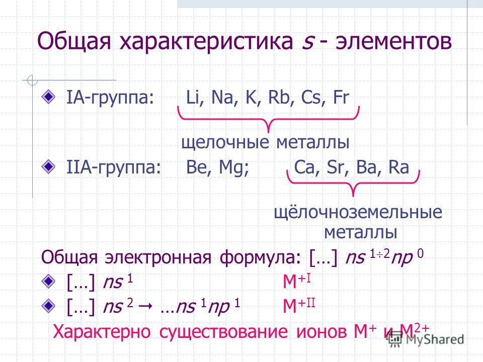 Общая характеристика s - элементов IА-группа: Li, Na, K, Rb, Cs, Fr щелочные металлы IIA-группа: Be, Mg; Ca, Sr, Ba, Ra щёлочноземельные металлы Общая электронная формула: […] ns 1 2 np 0 […] ns 1 M +I […] ns 2 …ns 1 np 1 M +II Характерно существован