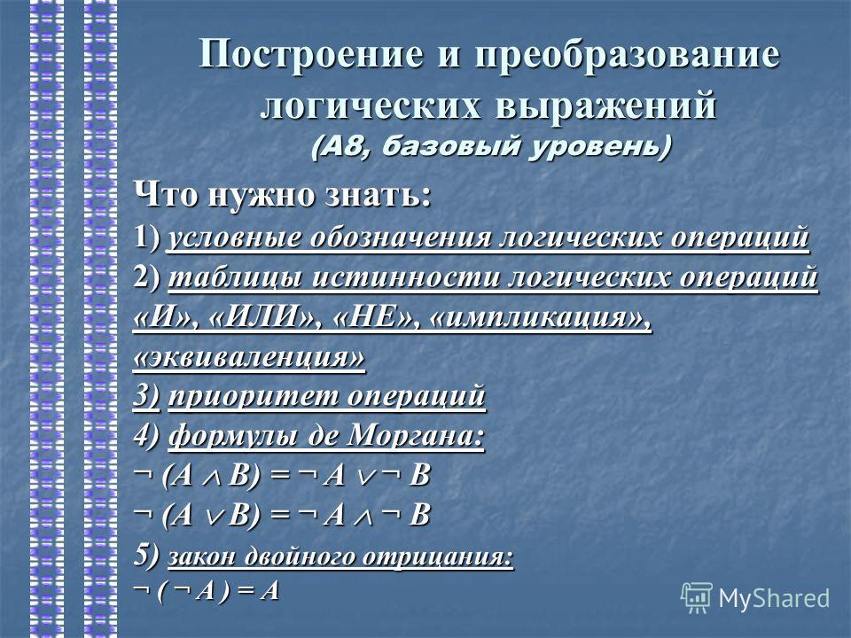 Построение и преобразование логических выражений (А8, базовый уровень) Что нужно знать: 1) условные обозначения логических операций 2) таблицы истинности логических операций «И», «ИЛИ», «НЕ», «импликация», «эквиваленция» 3)приоритет операций 3) приор
