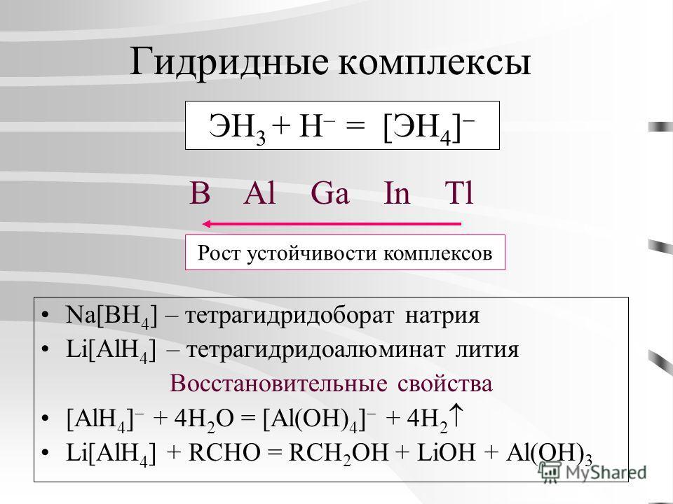 Гидридные комплексы Na[BH 4 ] – тетрагидридоборат натрия Li[AlH 4 ] – тетрагидридоалюминат лития Восстановительные свойства [AlH 4 ] + 4H 2 O = [Al(OH) 4 ] + 4H 2 Li[AlH 4 ] + RCHO = RCH 2 OH + LiOH + Al(OH) 3 ЭН 3 + H – = [ЭH 4 ] B Al Ga In Tl Рост