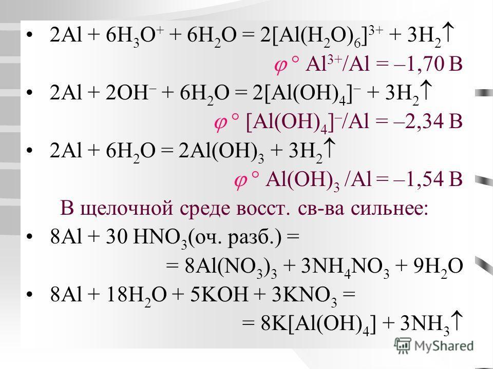 2Al + 6H 3 O + + 6H 2 O = 2[Al(H 2 O) 6 ] 3+ + 3H 2 Al 3+ /Al = –1,70 B 2Al + 2OH + 6H 2 O = 2[Al(OH) 4 ] + 3H 2 [Al(OH) 4 ] – /Al = –2,34 B 2Al + 6H 2 O = 2Al(OH) 3 + 3H 2 Al (OH) 3 /Al = –1,54 B В щелочной среде восст. св-ва сильнее: 8Al + 30 HNO 3