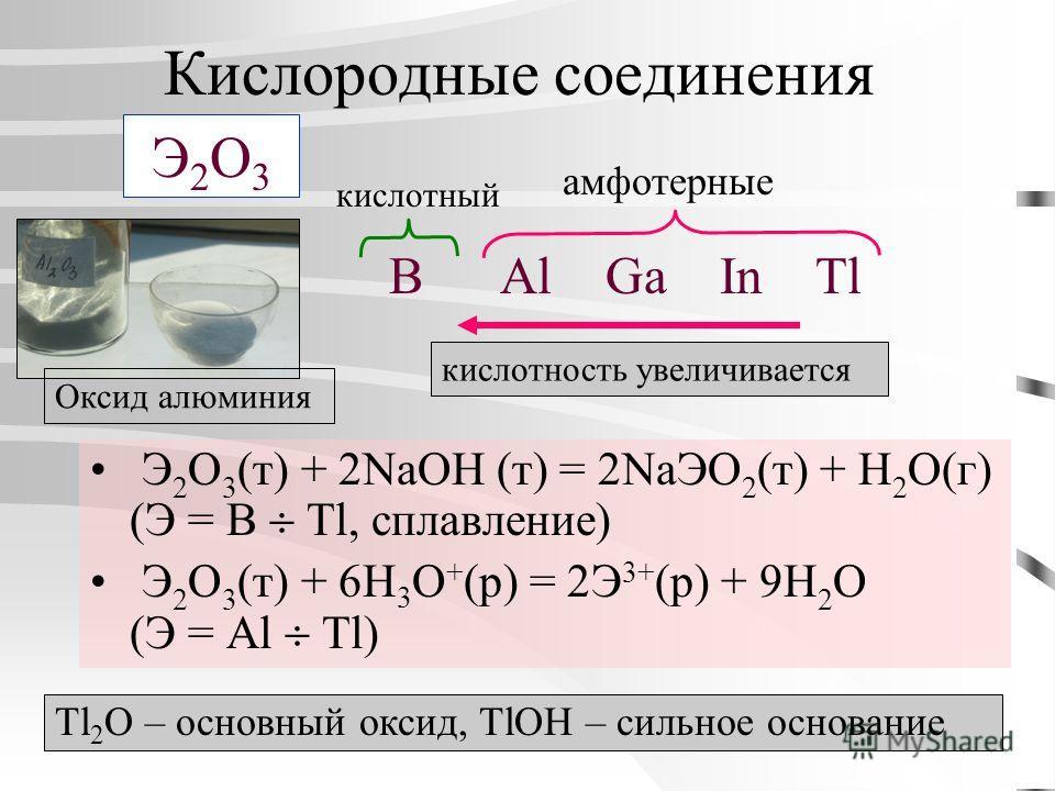 Кислородные соединения Э 2 O 3 (т) + 2NaOH (т) = 2NaЭO 2 (т) + H 2 O(г) (Э = B Tl, сплавление) Э 2 O 3 (т) + 6H 3 O + (р) = 2Э 3+ (р) + 9H 2 O (Э = Al Tl) Э2О3Э2О3 B Al Ga In Tl амфотерные кислотный кислотность увеличивается Tl 2 O – основный оксид,