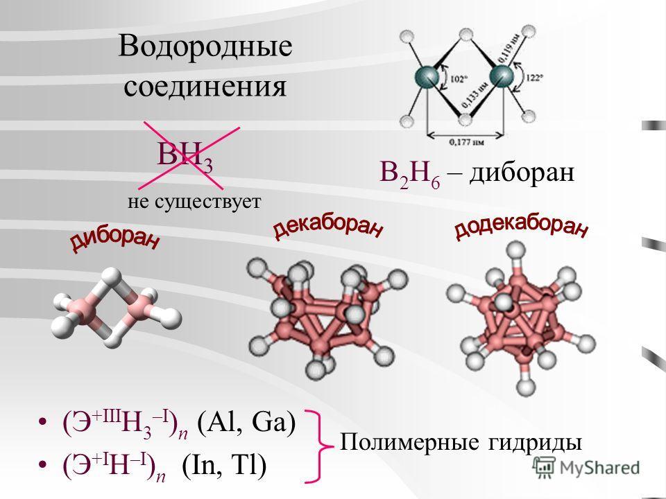 Водородные соединения (Э +III Н 3 –I ) n (Al, Ga) (Э +I Н –I ) n (In, Tl) BH 3 не существует B 2 H 6 – диборан Полимерные гидриды