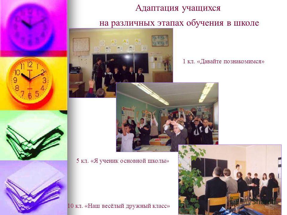 Адаптация учащихся на различных этапах обучения в школе 1 кл. «Давайте познакомимся» 5 кл. «Я ученик основной школы» 10 кл. «Наш весёлый дружный класс»