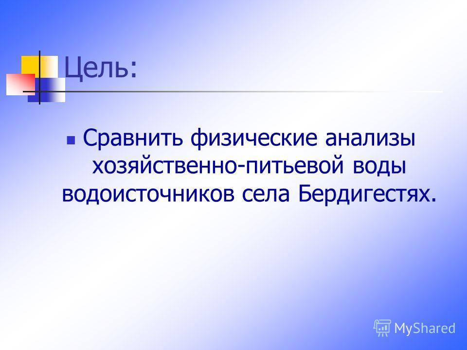 Цель: Сравнить физические анализы хозяйственно-питьевой воды водоисточников села Бердигестях.