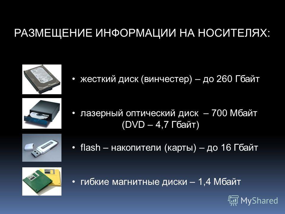 РАЗМЕЩЕНИЕ ИНФОРМАЦИИ НА НОСИТЕЛЯХ: жесткий диск (винчестер) – до 260 Гбайт лазерный оптический диск – 700 Мбайт (DVD – 4,7 Гбайт) flash – накопители (карты) – до 16 Гбайт гибкие магнитные диски – 1,4 Мбайт