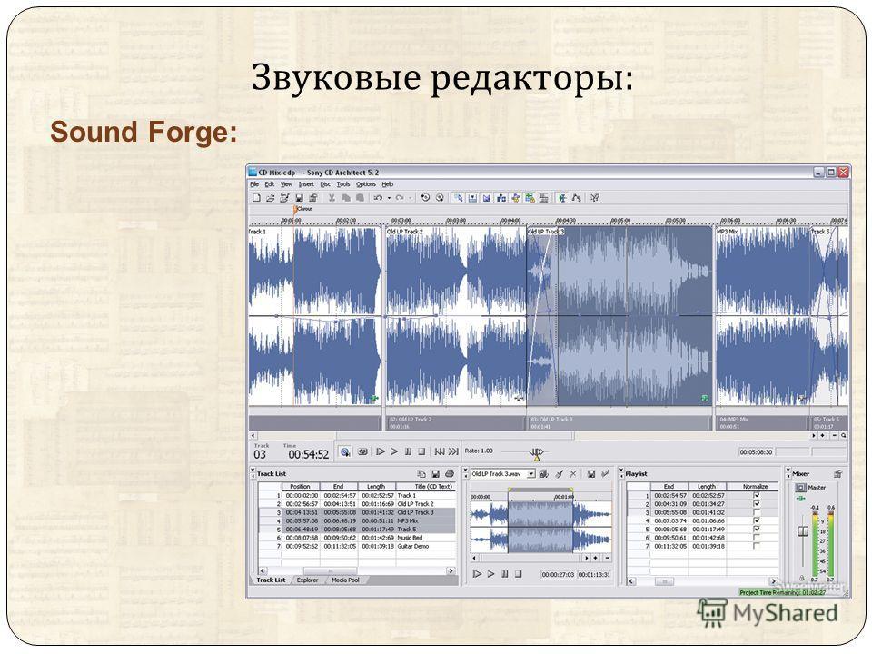 Звуковые редакторы : Sound Forge: