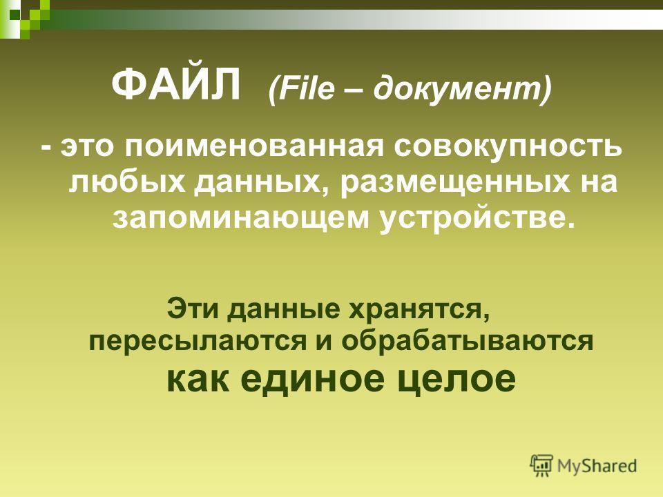 ФАЙЛ (File – документ) - это поименованная совокупность любых данных, размещенных на запоминающем устройстве. Эти данные хранятся, пересылаются и обрабатываются как единое целое