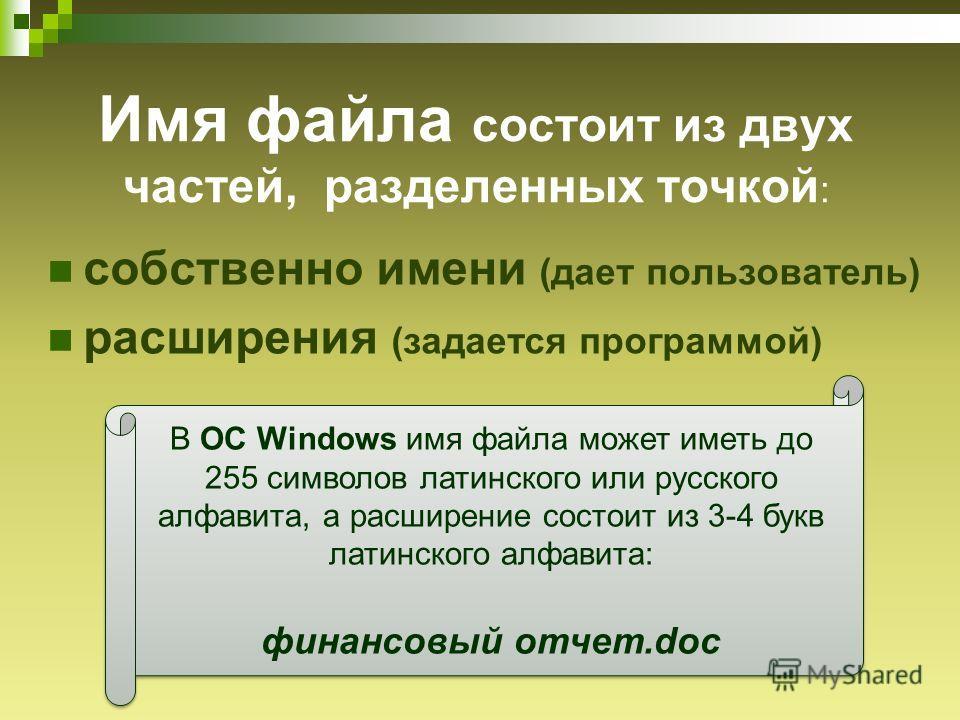 Имя файла состоит из двух частей, разделенных точкой : собственно имени (дает пользователь) расширения (задается программой) В ОС Windows имя файла может иметь до 255 символов латинского или русского алфавита, а расширение состоит из 3-4 букв латинск