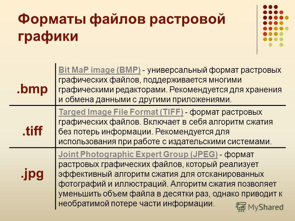 В этой работе использована презентация учителя информатики Усольцевой Э.М. (г. Качканар) Часть 2. Форматы файлов растровой графики