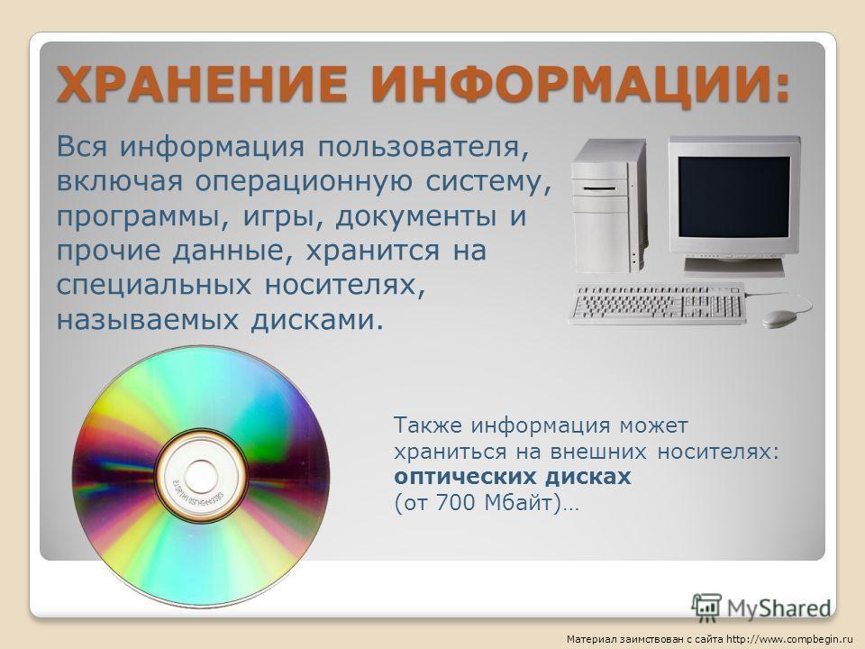 ХРАНЕНИЕ ИНФОРМАЦИИ: Вся информация пользователя, включая операционную систему, программы, игры, документы и прочие данные, хранится на специальных носителях, называемых дисками. Также информация может храниться на внешних носителях: оптических диска
