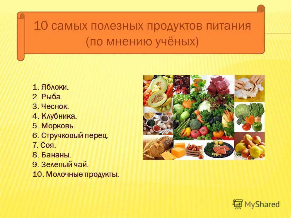 10 самых полезных продуктов питания (по мнению учёных) 1. Яблоки. 2. Рыба. 3. Чеснок. 4. Клубника. 5. Морковь 6. Стручковый перец. 7. Соя. 8. Бананы. 9. Зеленый чай. 10. Молочные продукты.