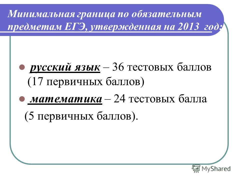 Минимальная граница по обязательным предметам ЕГЭ, утвержденная на 2013 год: русский язык – 36 тестовых баллов (17 первичных баллов) математика – 24 тестовых балла (5 первичных баллов).