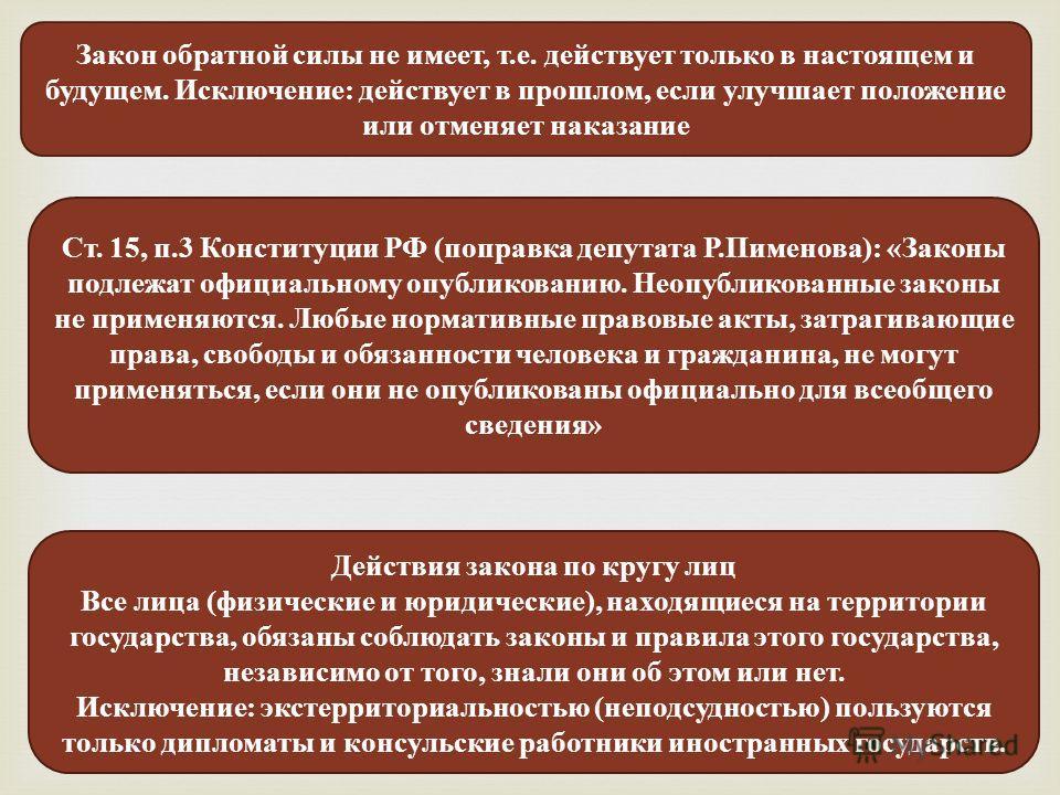 Закон обратной силы не имеет, т.е. действует только в настоящем и будущем. Исключение: действует в прошлом, если улучшает положение или отменяет наказание Ст. 15, п.3 Конституции РФ (поправка депутата Р.Пименова): «Законы подлежат официальному опубли