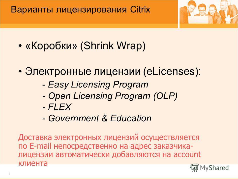 4 Варианты лицензирования Citrix «Коробки» (Shrink Wrap) Электронные лицензии (eLicenses): - Easy Licensing Program - Open Licensing Program (OLP) - FLEX - Government & Education Доставка электронных лицензий осуществляется по E-mail непосредственно
