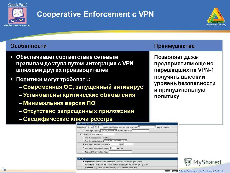 ©2005 Check Point Software Technologies Ltd. Proprietary & Confidential 28 Cooperative Enforcement с VPN ОсобенностиПреимущества Обеспечивает соответствие сетевым правилам доступа путем интеграции с VPN шлюзами других производителей Политики могут тр