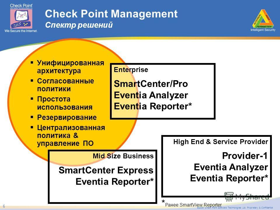 ©2005 Check Point Software Technologies Ltd. Proprietary & Confidential 6 Унифицированная архитектура Согласованные политики Простота использования Резервирование Централизованная политика & управление ПО Check Point Management Спектр решений Mid Siz