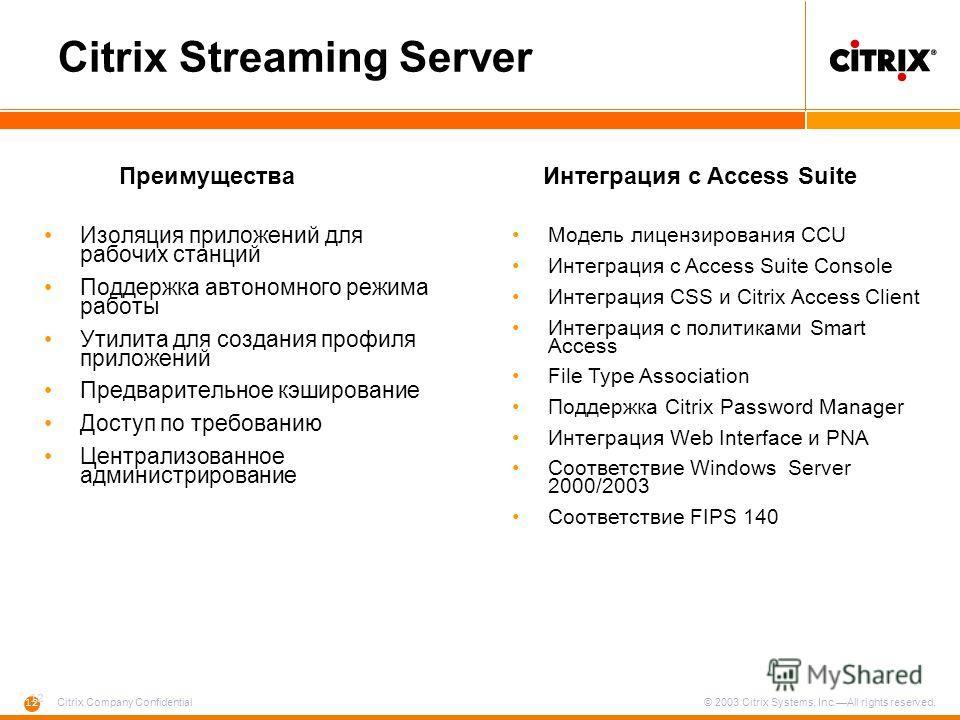 12 Citrix Company Confidential © 2003 Citrix Systems, Inc.All rights reserved. Citrix Streaming Server Изоляция приложений для рабочих станций Поддержка автономного режима работы Утилита для создания профиля приложений Предварительное кэширование Дос