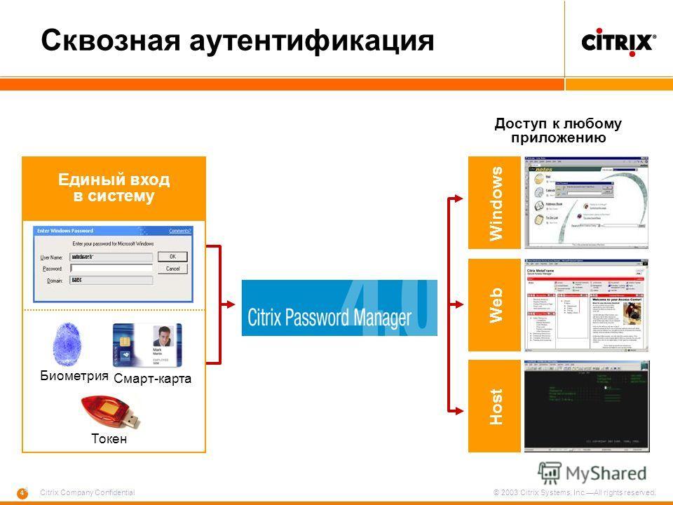 4 4 Citrix Company Confidential © 2003 Citrix Systems, Inc.All rights reserved. Сквозная аутентификация Смарт-карта Единый вход в систему Биометрия Токен WindowsWebHost Доступ к любому приложению