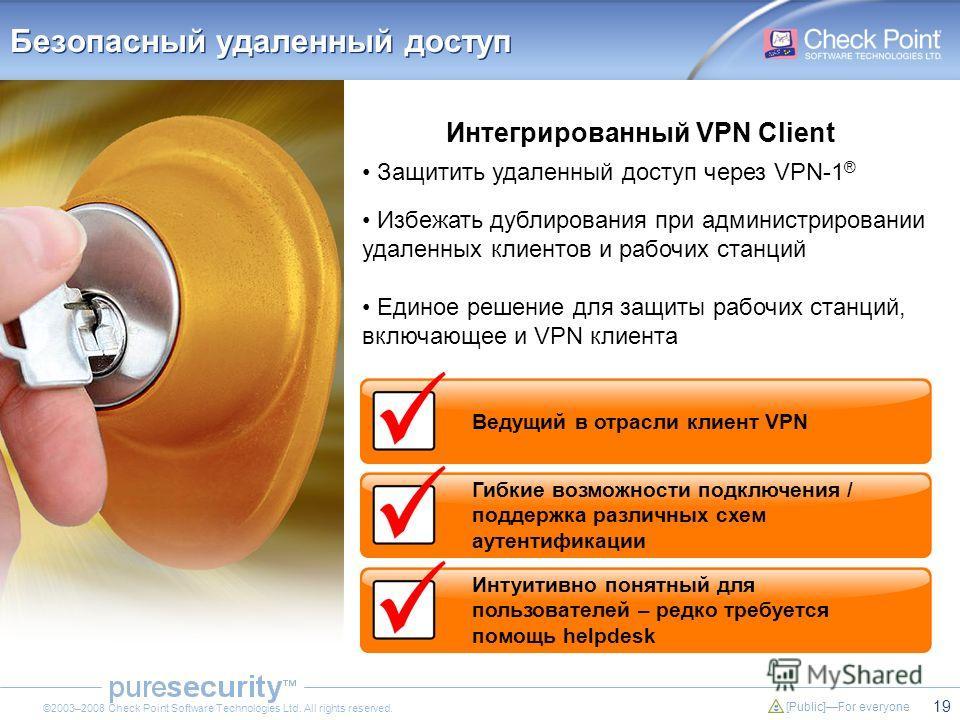 19 [Public]For everyone ©2003–2008 Check Point Software Technologies Ltd. All rights reserved. Безопасный удаленный доступ Защитить удаленный доступ через VPN-1 ® Избежать дублирования при администрировании удаленных клиентов и рабочих станций Единое