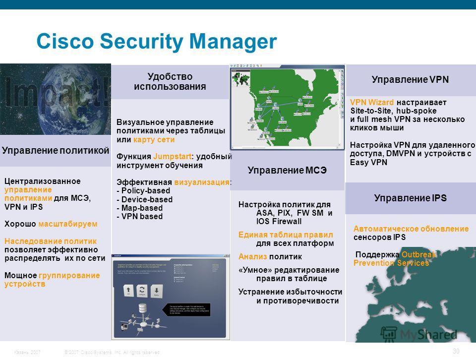 © 2007 Cisco Systems, Inc. All rights reserved.Казань 2007 30 Cisco Security Manager Управление политикой Централизованное управление политиками для МСЭ, VPN и IPS Хорошо масштабируем Наследование политик позволяет эффективно распределять их по сети