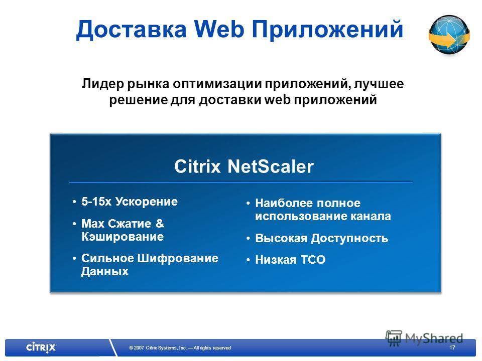 17 © 2007 Citrix Systems, Inc. All rights reserved Доставка Web Приложений Citrix NetScaler 5-15x Ускорение Max Сжатие & Кэширование Сильное Шифрование Данных Наиболее полное использование канала Высокая Доступность Низкая TCO Лидер рынка оптимизации