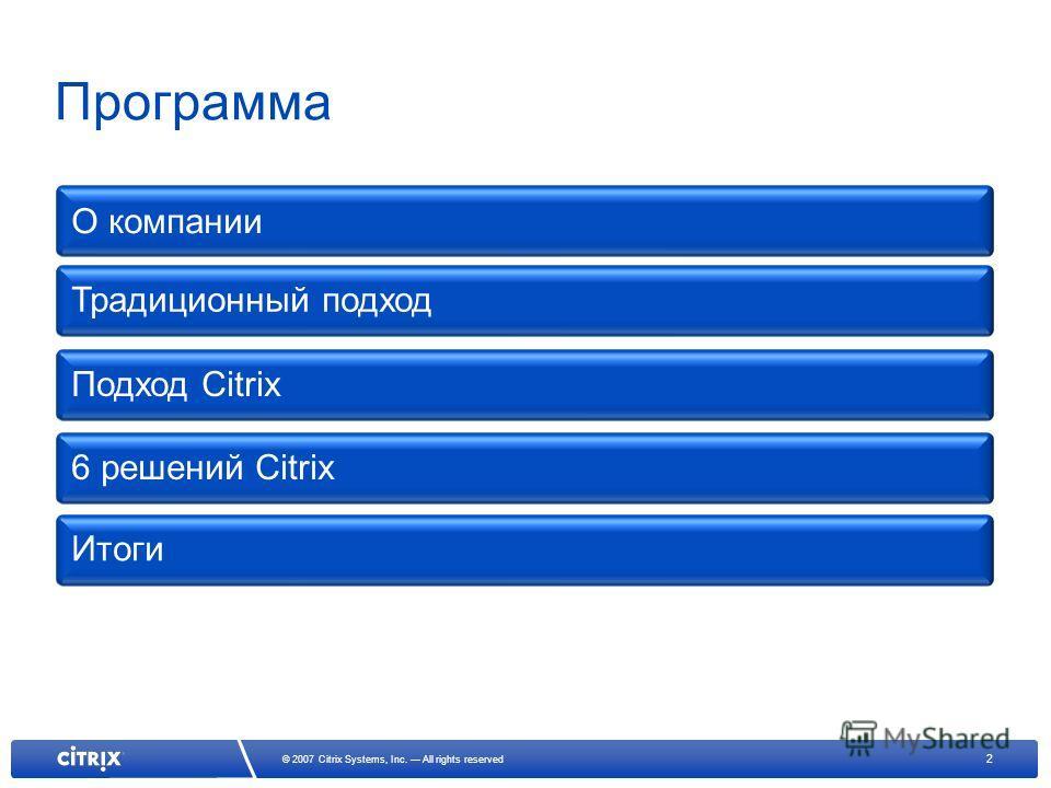 2 © 2007 Citrix Systems, Inc. All rights reserved Программа О компании Традиционный подход 6 решений Citrix Итоги Подход Citrix