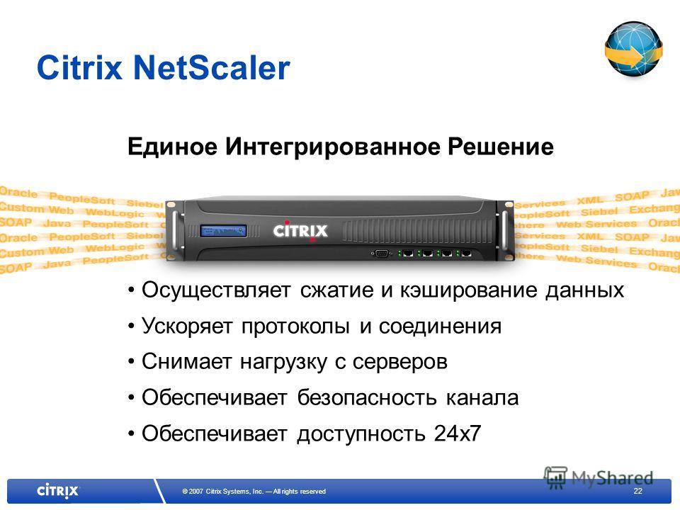 22 © 2007 Citrix Systems, Inc. All rights reserved Осуществляет сжатие и кэширование данных Ускоряет протоколы и соединения Снимает нагрузку с серверов Обеспечивает безопасность канала Обеспечивает доступность 24x7 Единое Интегрированное Решение Citr