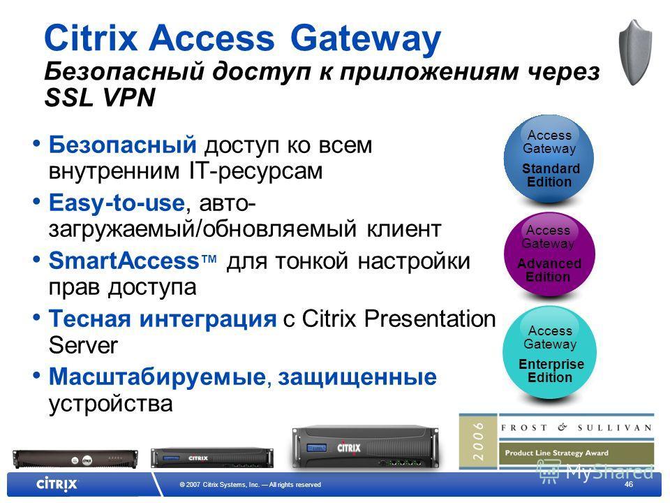46 © 2007 Citrix Systems, Inc. All rights reserved Citrix Access Gateway Безопасный доступ к приложениям через SSL VPN Безопасный доступ ко всем внутренним IT-ресурсам Easy-to-use, авто- загружаемый/обновляемый клиент SmartAccess для тонкой настройки