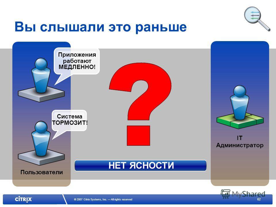 62 © 2007 Citrix Systems, Inc. All rights reserved Вы слышали это раньше Пользователи IT Администратор НЕТ ЯСНОСТИ Система ТОРМОЗИТ! Приложения работают МЕДЛЕННО!