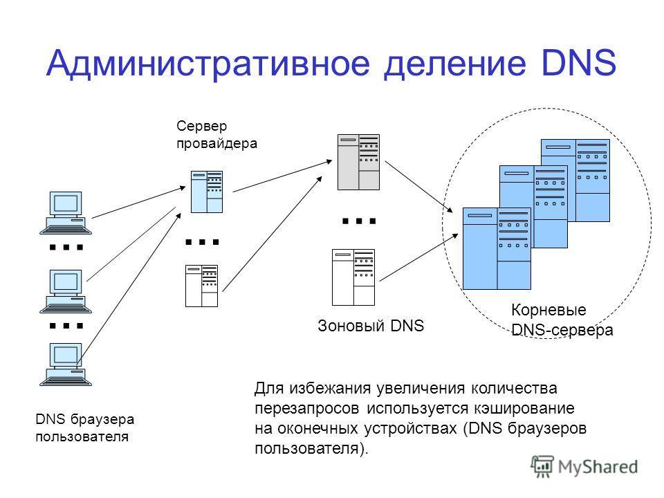 Административное деление DNS Сервер провайдера DNS браузера пользователя Зоновый DNS Корневые DNS-сервера Для избежания увеличения количества перезапросов используется кэширование на оконечных устройствах (DNS браузеров пользователя). … … … …