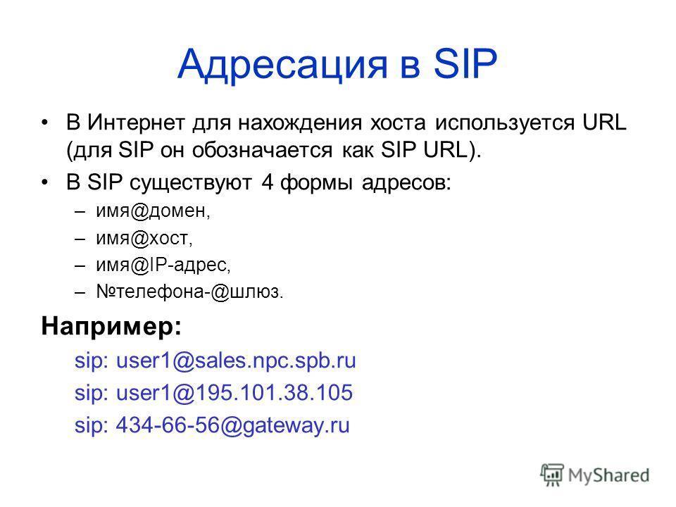 Адресация в SIP В Интернет для нахождения хоста используется URL (для SIP он обозначается как SIP URL). В SIP существуют 4 формы адресов: –имя@домен, –имя@хост, –имя@IP-адрес, –телефона-@шлюз. Например: sip: user1@sales.npc.spb.ru sip: user1@195.101.