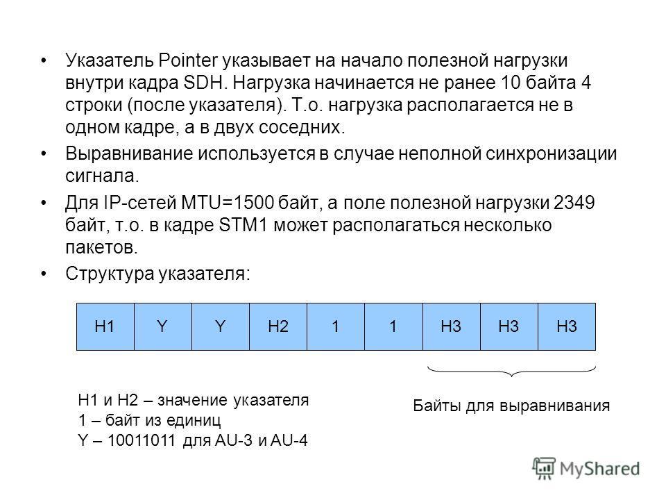 Указатель Pointer указывает на начало полезной нагрузки внутри кадра SDH. Нагрузка начинается не ранее 10 байта 4 строки (после указателя). Т.о. нагрузка располагается не в одном кадре, а в двух соседних. Выравнивание используется в случае неполной с