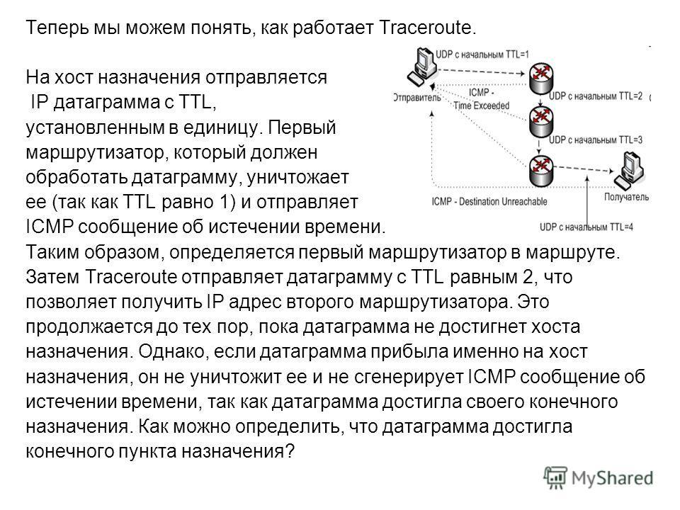 Теперь мы можем понять, как работает Traceroute. На хост назначения отправляется IP датаграмма с TTL, установленным в единицу. Первый маршрутизатор, который должен обработать датаграмму, уничтожает ее (так как TTL равно 1) и отправляет ICMP сообщение