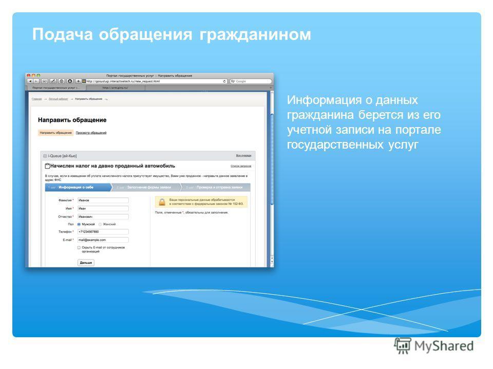 Подача обращения гражданином Информация о данных гражданина берется из его учетной записи на портале государственных услуг