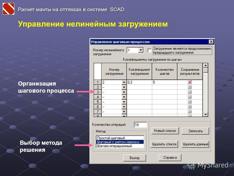 Расчет мачты на оттяжках в системе SCAD Управление нелинейным загружением Организация шагового процесса Выбор метода решения