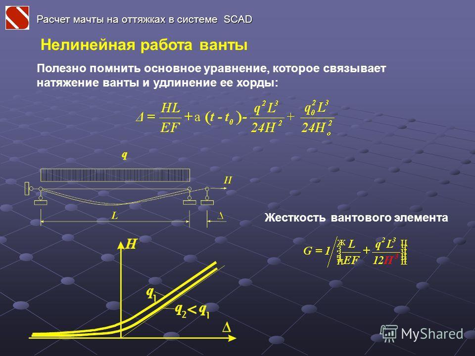 Расчет мачты на оттяжках в системе SCAD Нелинейная работа ванты Полезно помнить основное уравнение, которое связывает натяжение ванты и удлинение ее хорды: Жесткость вантового элемента