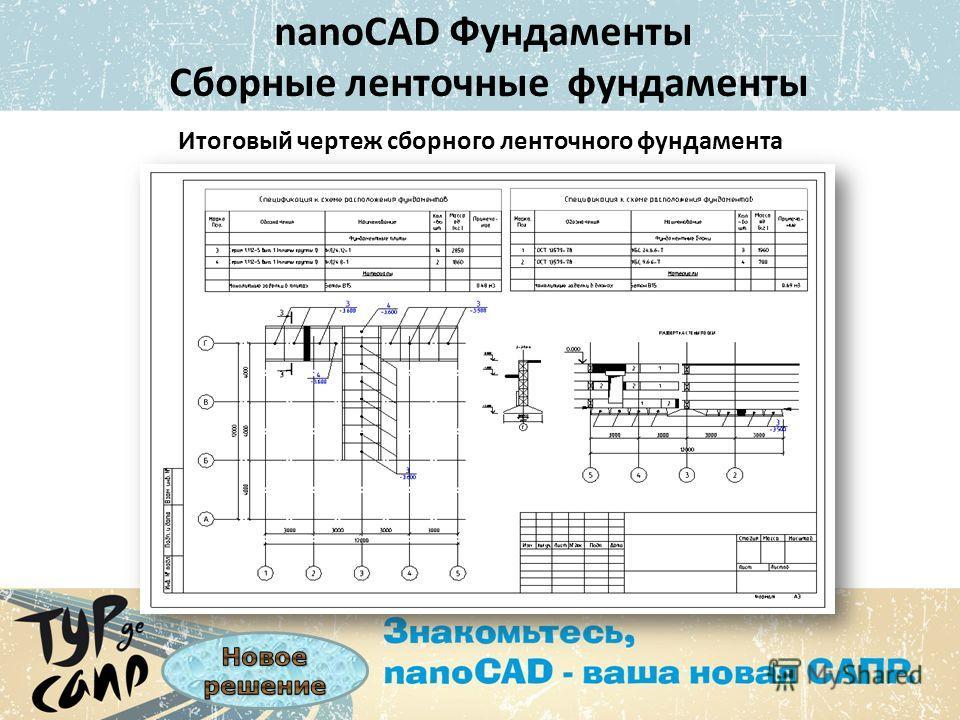 nanoCAD Фундаменты Сборные ленточные фундаменты Итоговый чертеж сборного ленточного фундамента