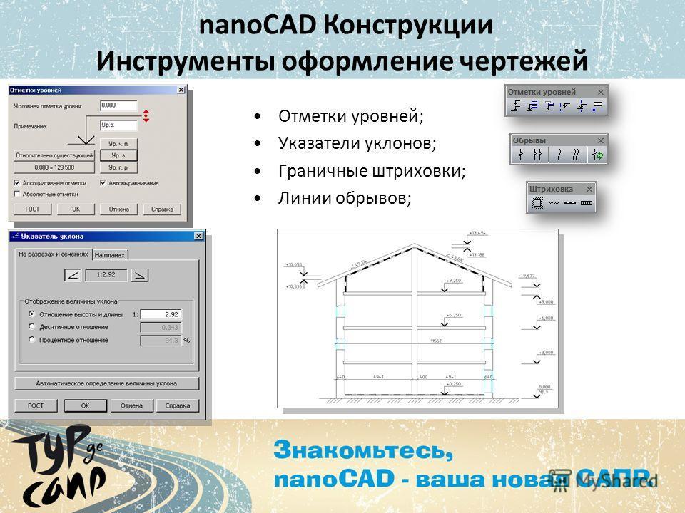 Отметки уровней; Указатели уклонов; Граничные штриховки; Линии обрывов; nanoCAD Конструкции Инструменты оформление чертежей