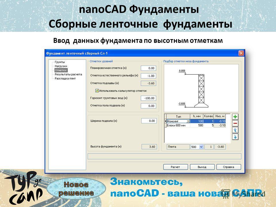 nanoCAD Фундаменты Сборные ленточные фундаменты Ввод данных фундамента по высотным отметкам