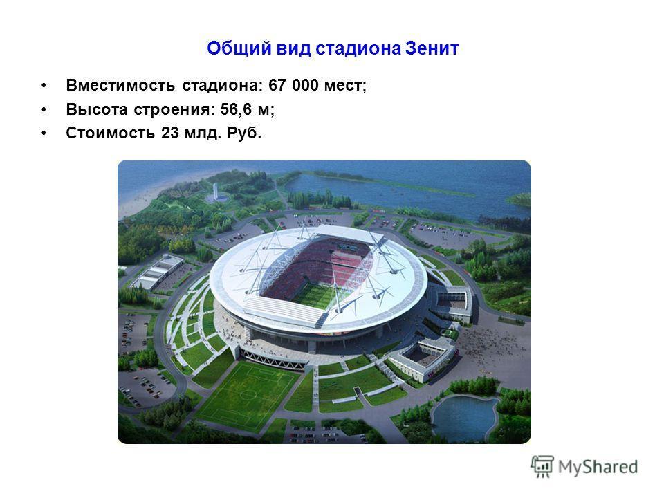Общий вид стадиона Зенит Вместимость стадиона: 67 000 мест; Высота строения: 56,6 м; Стоимость 23 млд. Руб.